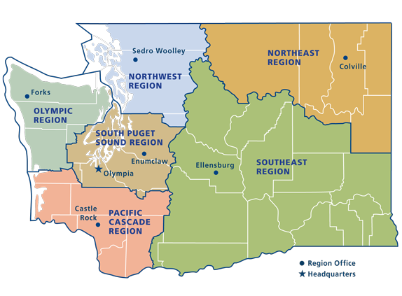 DNR Regions and Districts   WA - DNR