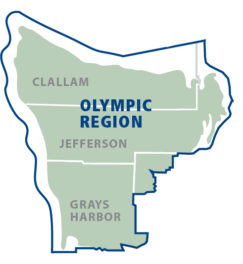 click to enlarge Olympic Region Map with Counties