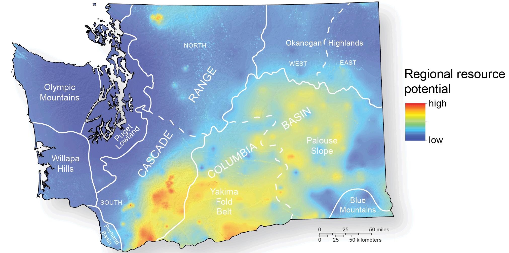 Geothermal Resources WA DNR - Map of wa