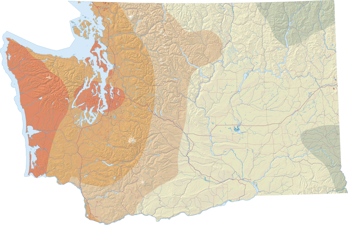 Earthquakes and faults wa dnr this map shows different seismic design categories that correlate with amount of seismic risk higher risk areas are in orange and lower risk areas are in gumiabroncs Choice Image