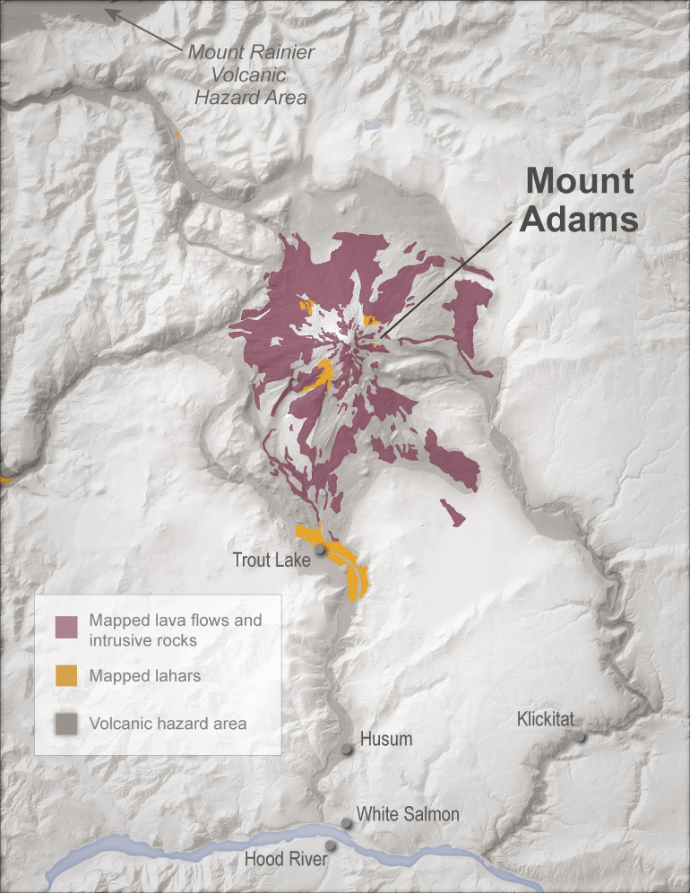 Distribution Of Lava Flows And Lahars Mapped At The Surface Compared To Hazard Zones Gray Shaded Areas Much Of The Volcanic Deposits Have Been Either