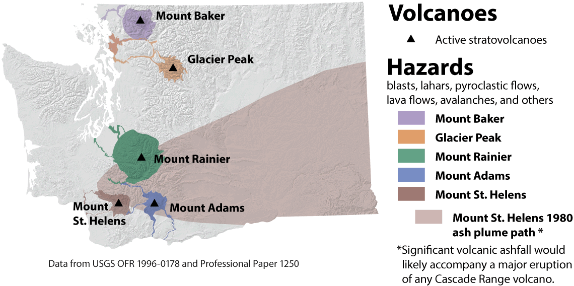 Volcanoes And Lahars WA DNR - Map active volcanos in us