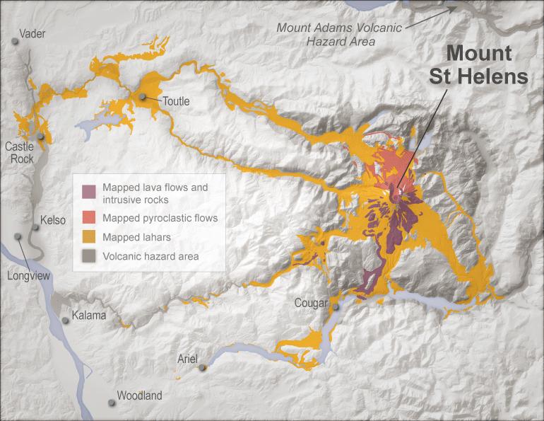 Mt Adams Washington Map.Volcanoes And Lahars Wa Dnr