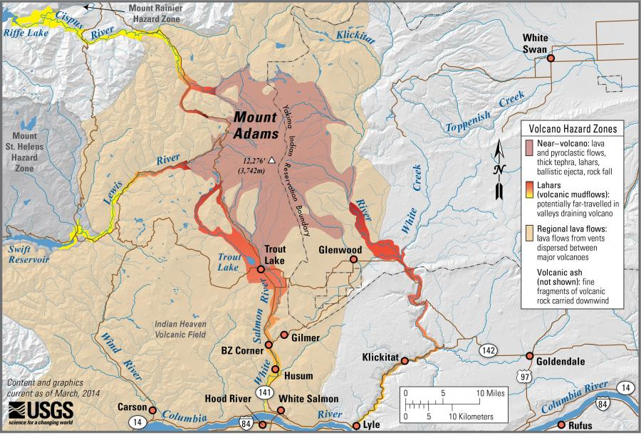 Volcanoes And Lahars WA DNR - Map of us volcanoes