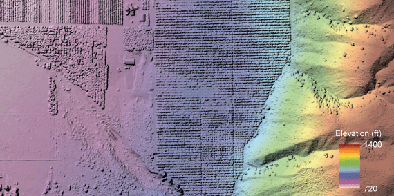 Orchard land near Entiat showing the tree canopy hillshade and elevation. & Lidar | WA - DNR