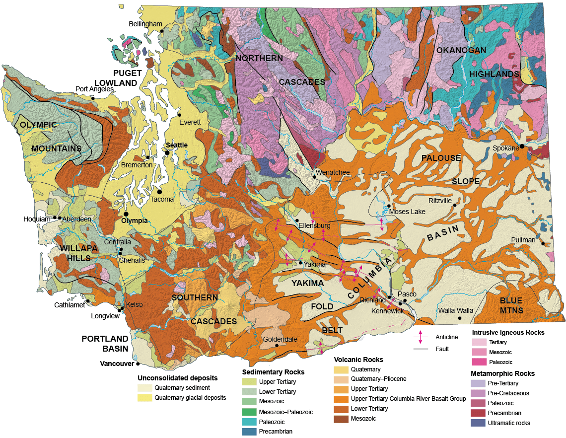 Geologic Provinces Of Washington Wa Dnr