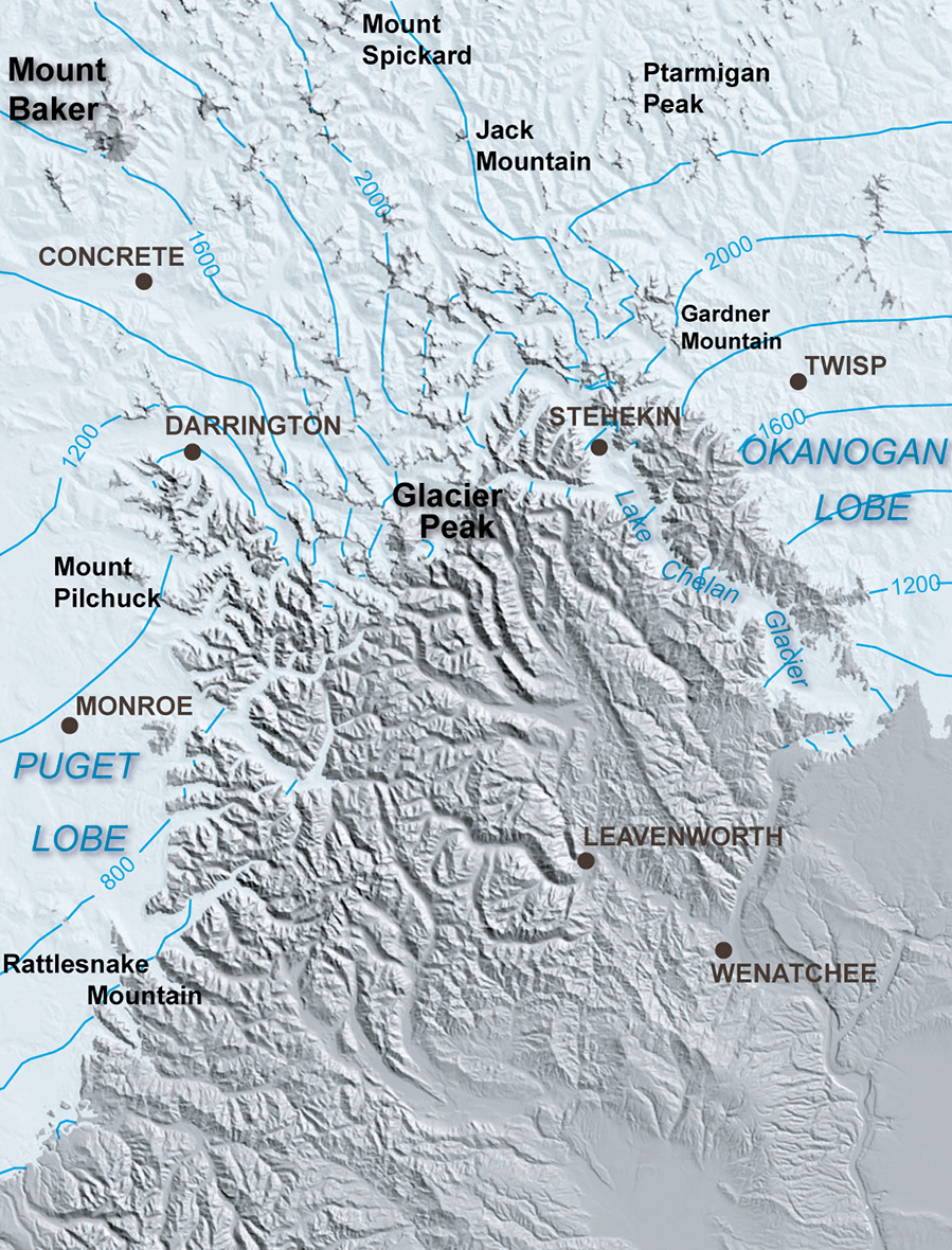 Thickness And Extent Of Glacial Ice In The North Cascade Range During The Last Ice Age Modified From Haugerud And Tabor 2009