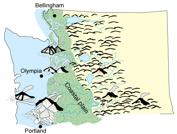 Southern cascades wa dnr paleogeographic map of the coastal plain of western washington during eocene time modified from brownfield 2011 publicscrutiny Gallery