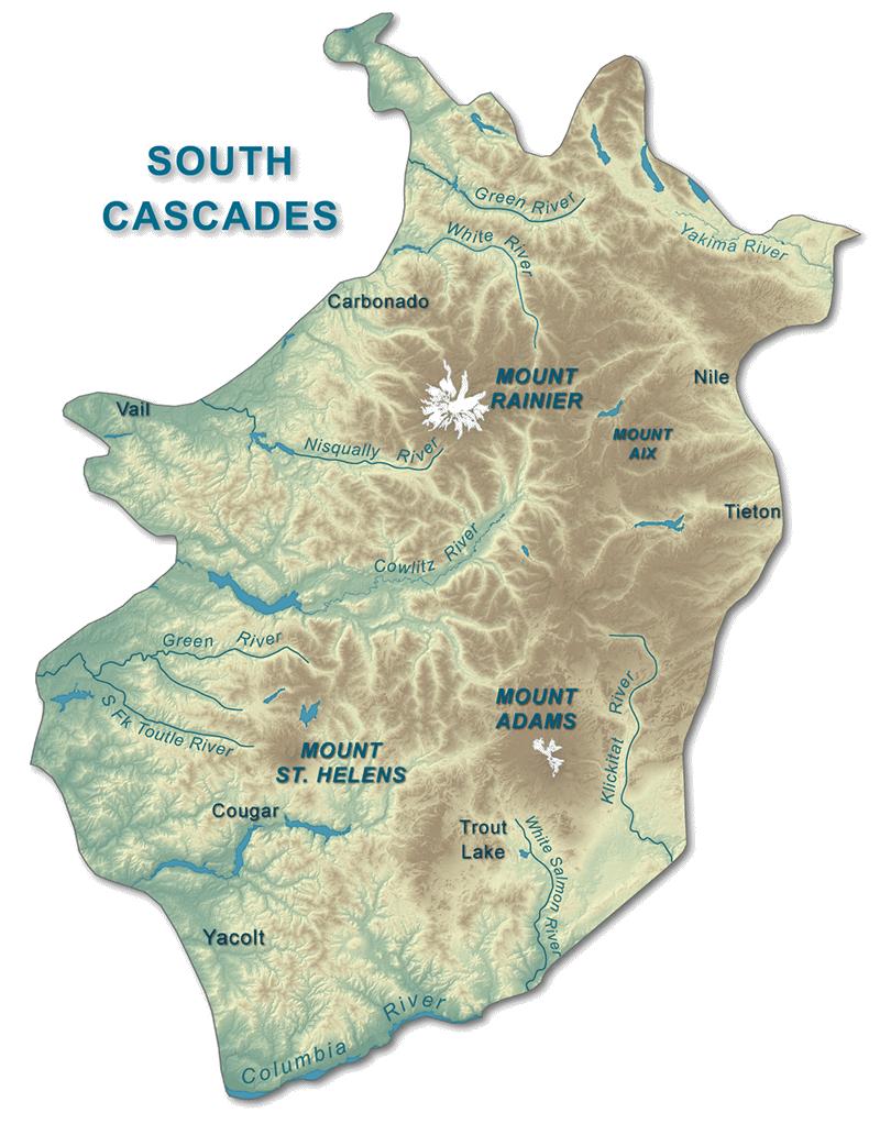 Southern Cascades WA DNR - Cascade range on us map