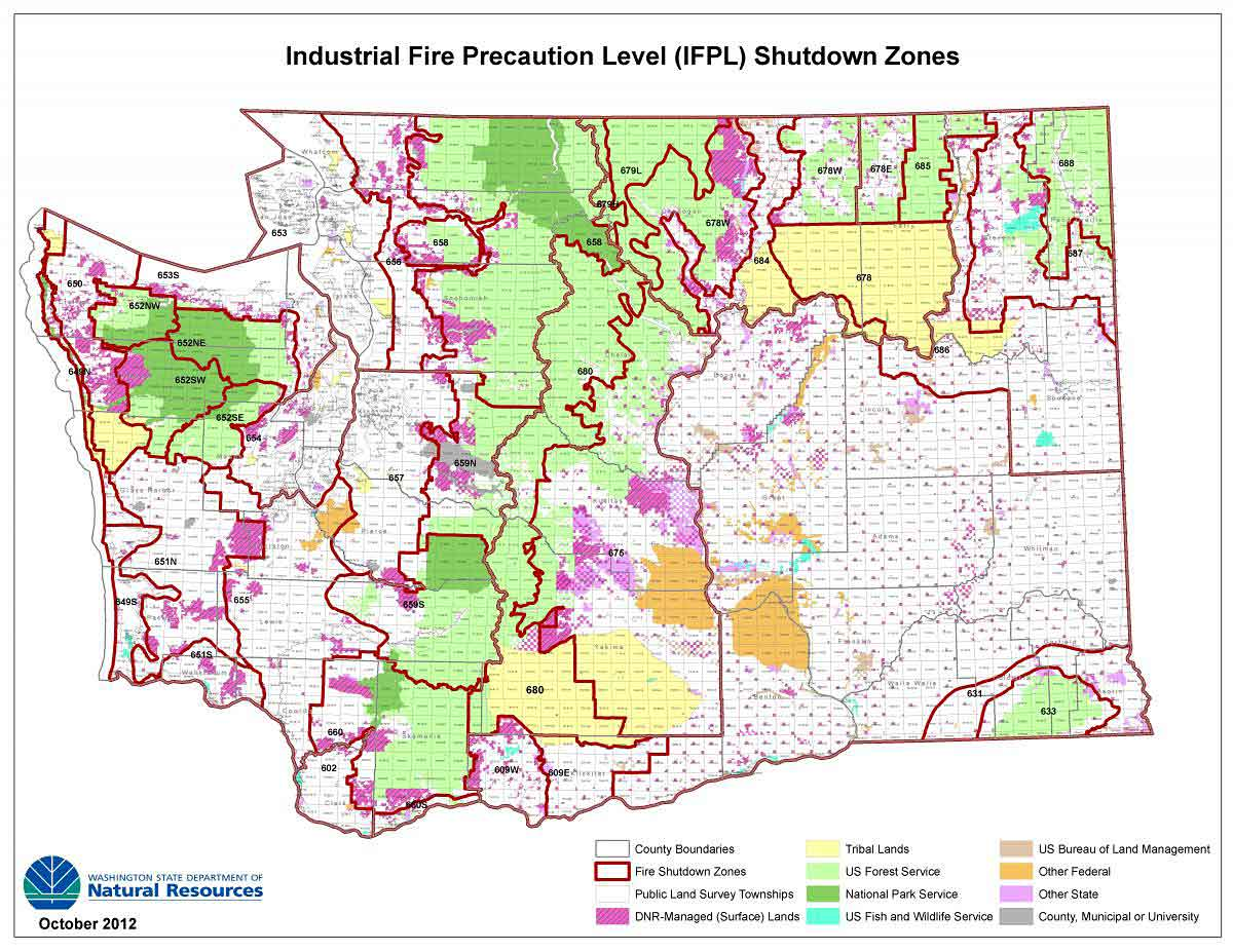 Fire Map Washington State IFPL map with PLS grid overlay map | WA   DNR