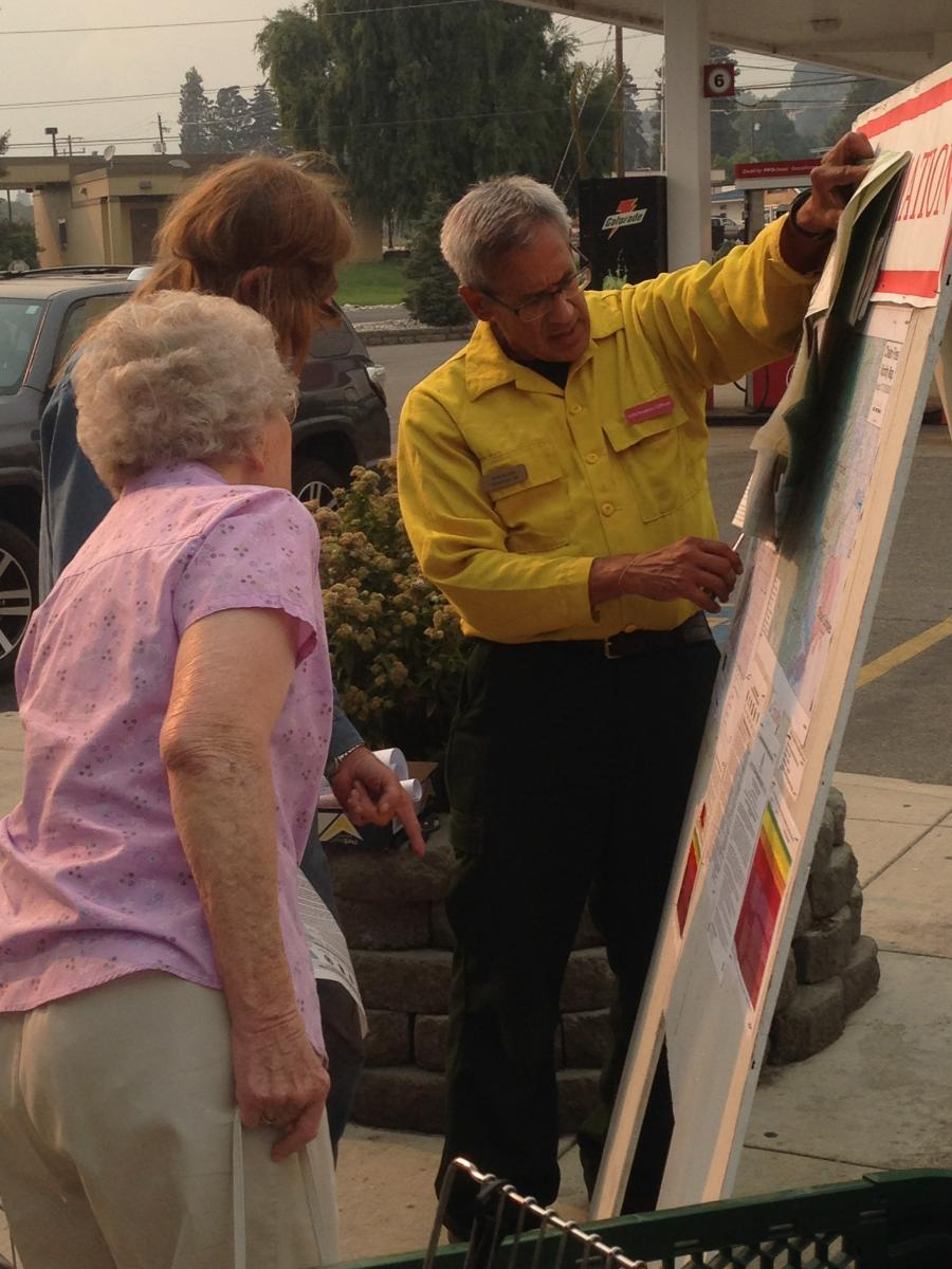Public Information Officer updates the public on the Chelan Fire Complex