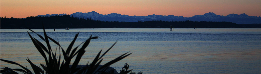 Budd Inlet and Olympic Mountains at Twilight in the Puget Sound, Olympia Washington