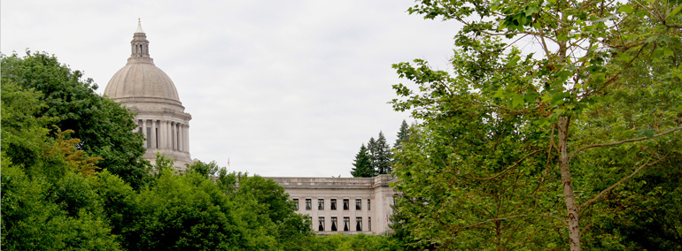 Photo of Washington State Legislative Building and Temple of Justice as seen from Capitol Lake