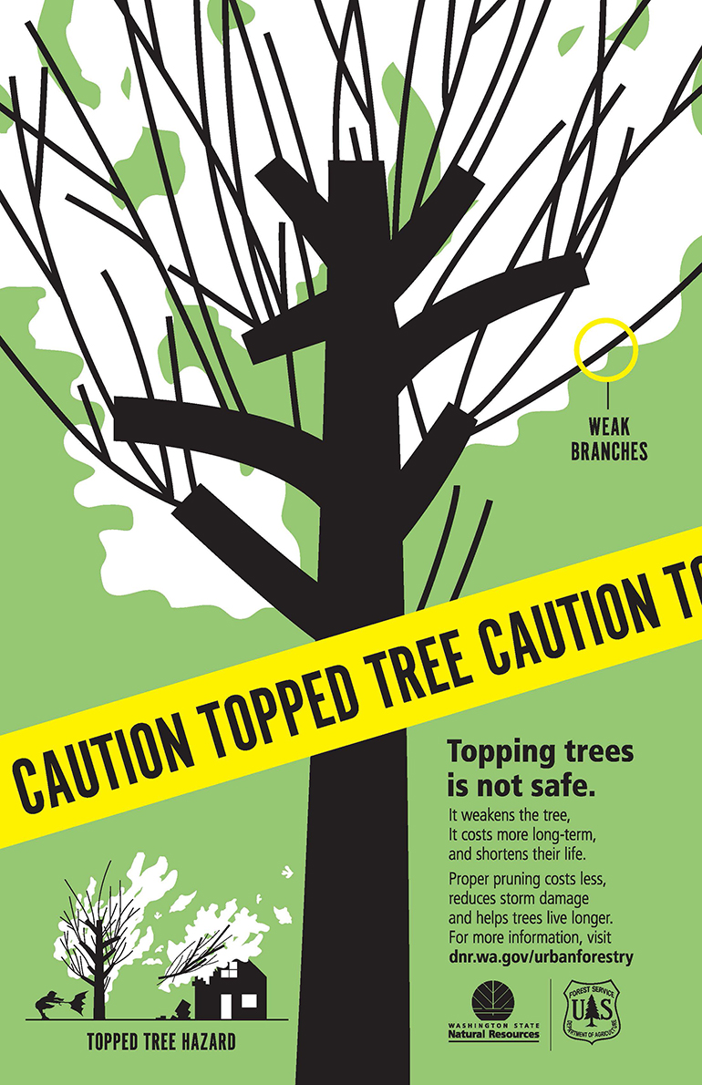 Caution topped tree poster