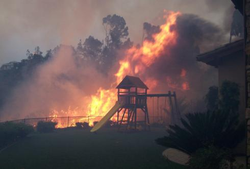 Wildfire burns through neighborhood